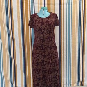 True Vintage Maroon Floral Velvet Dress
